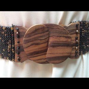 Vintage Ethnic Boho Gypsy Glamour Wood Bead Belt